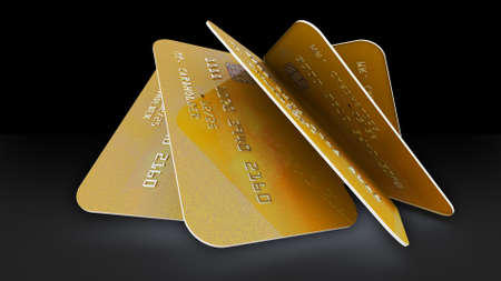 3d rendering of Realistic detailed gold credit cards with bright abstract gold design on black background.