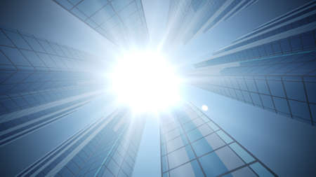 3d rendering of Business and design concept - empty glass panel of skyscrapers under bright sun and blue sky. Bottom up view.