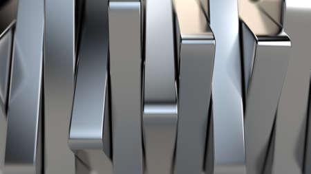 3d rendering of Metal bars, chrome plated, shiny, vertically arranged. Banque d'images