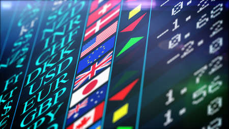 Abstract Stock market trading graph for financial investment and economic concept. Black screen with the titles, signs and flags of different currencies. Price and shimmering green and red arrows