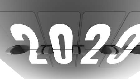 Artistic up down 3d rendering of a black timeflip chart with numbers 2020 put aslant in the white background. It looks classy and cutting edge.