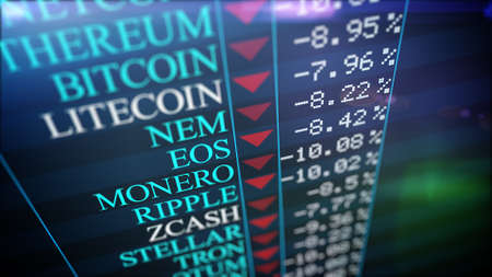 A computer 3d rendering of crypto currency information placed on a huge black screen with the titles of different crypto currencies, their price and shimmering red arrows. Slump crypro market.