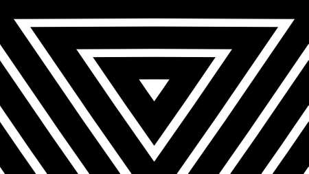 Illustration of Geometric triangles background pattern made from black and white bar. Eternity and deep. Banque d'images