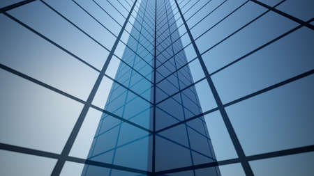 3d rendering of part of an abstract bright skyscraper. Simple forms of buildings in daylight with reflections. Banque d'images