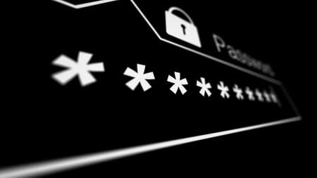 Password field on a black webpage in Internet browser. Internet security concept. Shallow Depth of Field. 3d illustration.