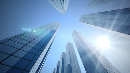 3d rendering. Perspective view, the skyscraper is directed to the sky and Sun. blue gradient, light reflection in glass, urban building design.