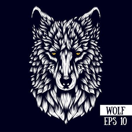 Cabeza de lobo con dibujos, ilustración vectorial en estilo de línea. Boceto de página para colorear antiestrés para adultos, tatuaje, póster, impresión, camiseta, etc.