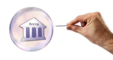 overvalued: Banking and Credit Bubble about to explode by a needle  Stock Photo
