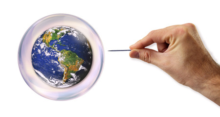overvalued: World Bubble about to explode by a needle  Stock Photo
