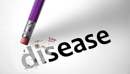 Eraser deleting the word Disease  photo