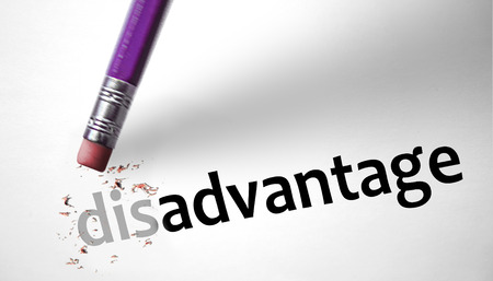 disadvantage: Eraser changing the word Disadvantage for Advantage  Stock Photo
