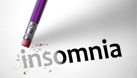 somnambulism: Eraser deleting the word Insomnia Stock Photo