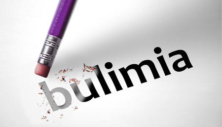 bulimia: Eraser deleting the word Bulimia