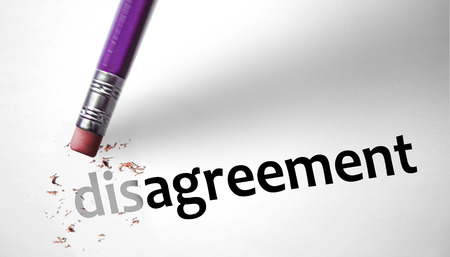 Eraser changing the word Disagreement for Agreement