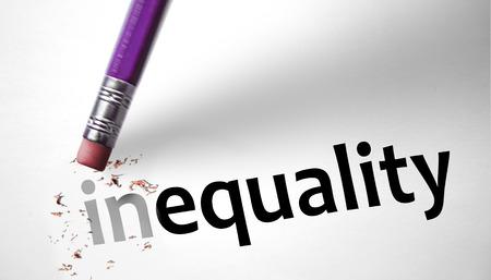 평등에 대한 단어 불평등을 변경 지우개
