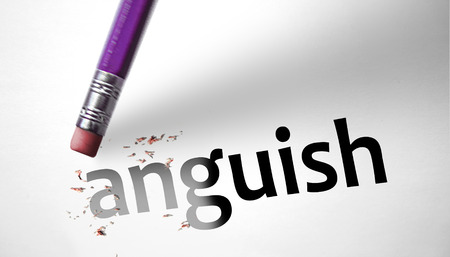 deleting: Eraser deleting the word Anguish