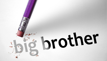 deleting: Eraser deleting the concept Big Brother  Stock Photo