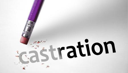 testes: Eraser deleting the word Castration