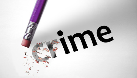 deleting: Eraser deleting the word Crime Stock Photo