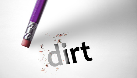 deleting: Eraser deleting the word Dirt