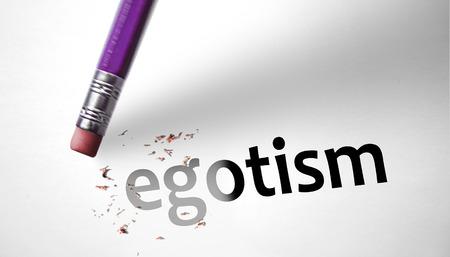 egoist: Eraser deleting the word Egotism