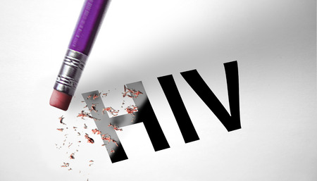 Eraser deleting the word HIV  photo