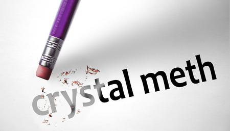 Eraser deleting the word Crystal Meth  photo