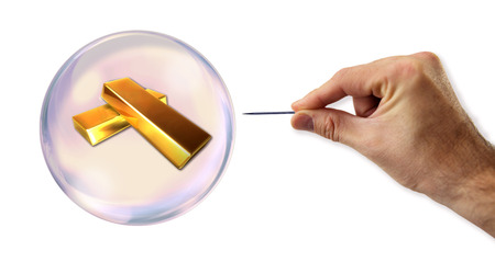 overvalued: Gold value Bubble about to explode by a needle