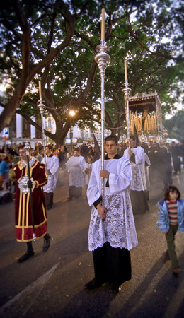 procession: MALAGA, SPAIN - APRIL 09: traditional processions of Holy Week in the streets on April 19, 2009 in Malaga, Spain.  Editorial