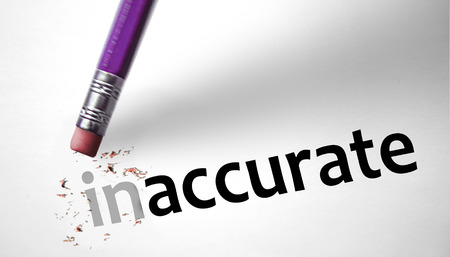 inaccurate: Eraser changing the word Inaccurate for Accurate  Stock Photo
