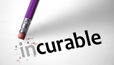 incurable: Eraser changing the word Incurable for Curable  Stock Photo