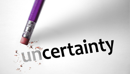 certainty: Eraser changing the word Uncertainty for Certainty  Stock Photo