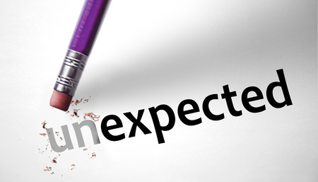 unanticipated: Eraser changing the word unexpected for expected