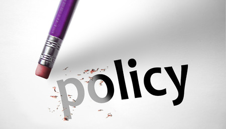 Eraser deleting the word Policy  photo
