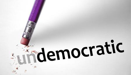 undemocratic: Eraser changing the word Undemocratic for Democratic