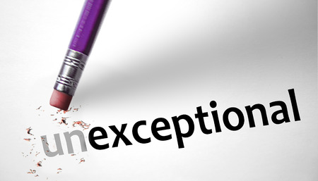 exceptional: Eraser changing the word Unexceptional for Exceptional