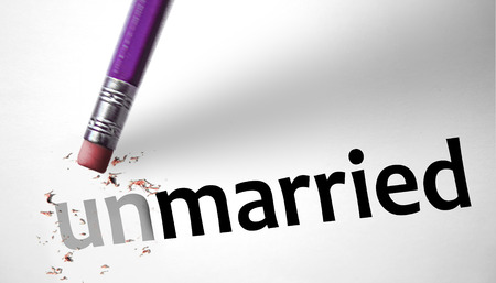 unmarried: Eraser changing the word Unmarried for Married  Stock Photo