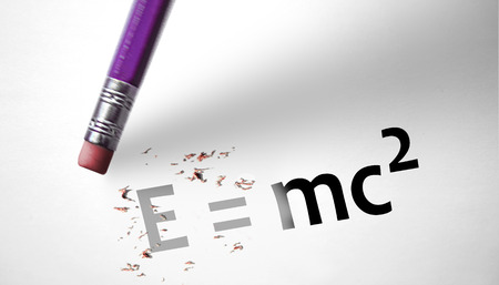 deleting: Eraser deleting the concept E=mc2
