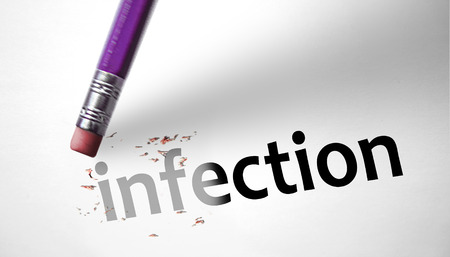 deleting: Eraser deleting the word Infection