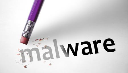 deleting: Eraser deleting the word Malware