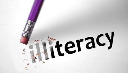 illiterate: Eraser deleting the word Illiteracy  Stock Photo