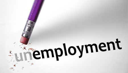 Eraser changing the word Unemployment for Unemployed