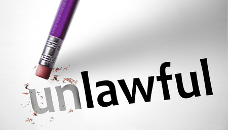 Eraser changing the word Unlawful for Lawful  photo