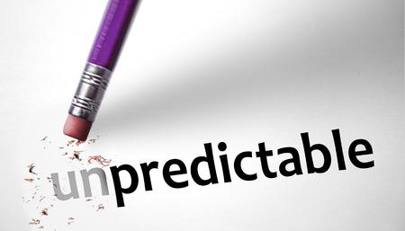 prognosticator: Eraser changing the word Unpredictable for Predictable  Stock Photo