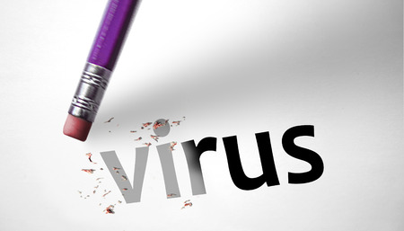 vulnerabilities: Eraser deleting the word Virus  Stock Photo