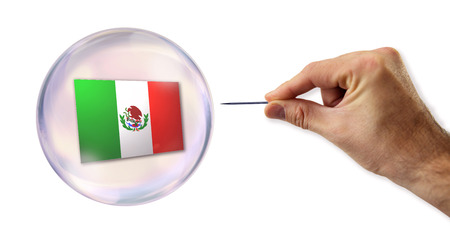 overvalued: Mexican economic Bubble about to explode by a needle  Stock Photo