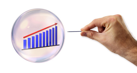 continued: Continued Growth Bubble about to explode by a needle  Stock Photo