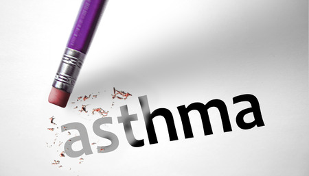 asthma: Eraser deleting the word Asthma