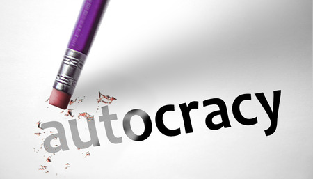 totalitarianism: Eraser deleting the word Autocracy