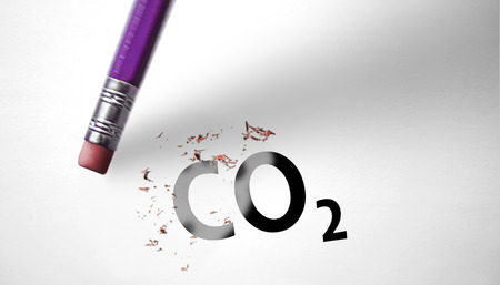 deleting: Eraser deleting the word CO2